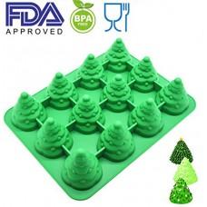 Palksky JUBMO SIZE 3D Silicone 12 Cavity Tree Mold & Christmas Tree mold Make xmas tree cake、chocolate、 Jello、shaped candles Christmas