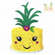 Glitter Pineapple Cake Topper Hawaiian Aloha Luau Themed Party Cake Decoration for Birthday Baby Shower Party Supplies