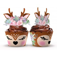 Woodland Baby Shower Cupcake Wrappers and Toppers - 24 Sets - Woodland Deer Birthday Party Decorations - Wild One Party Supplies (Woodland Deer)